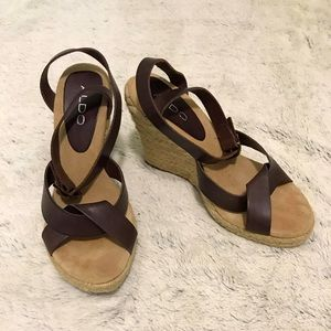 Aldo leather wedge Sandals